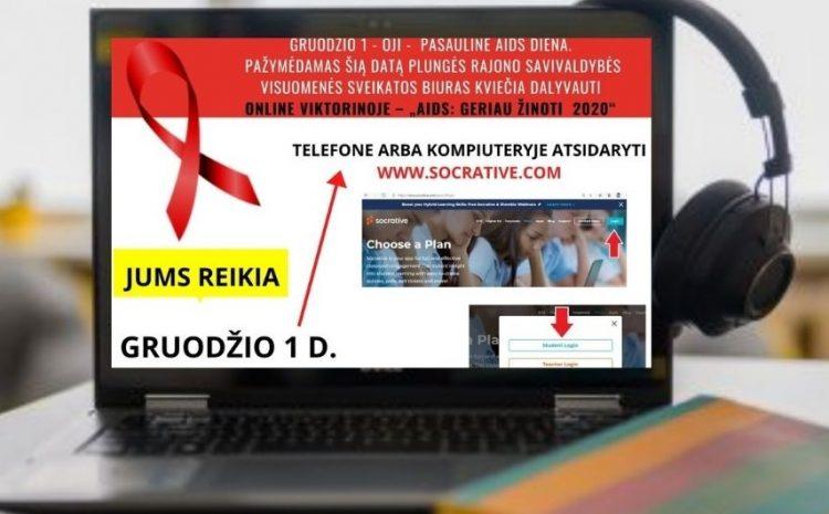 Plungės rajono savivaldybės visuomenės sveikatos biuras pasaulinę AIDS dieną minėjo online