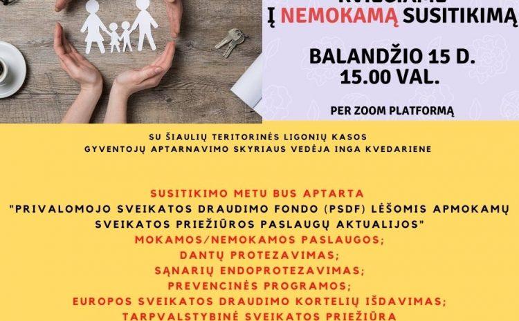 Kviečiame prisijungti prie organizuojamo susitikimo su Šiaulių TLK specialistais ir pasidalinti informacija su kitais.